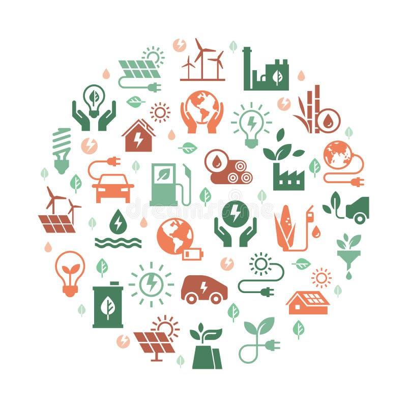 Круговой набор концепции символа экологической энергии вектора иллюстрация вектора