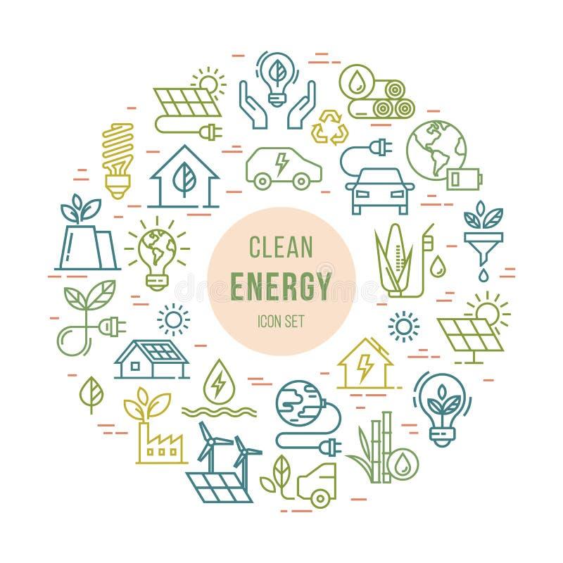 Круговой набор концепции символа экологической энергии вектора бесплатная иллюстрация
