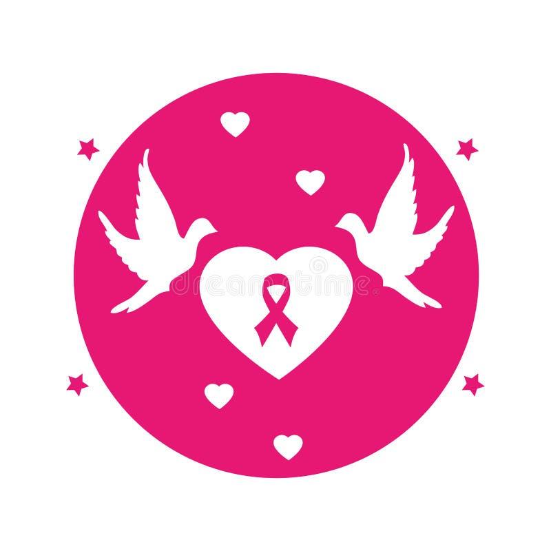 Круговой пинк эмблемы формы сердца кнопки с раком молочной железы и голубями символа бесплатная иллюстрация