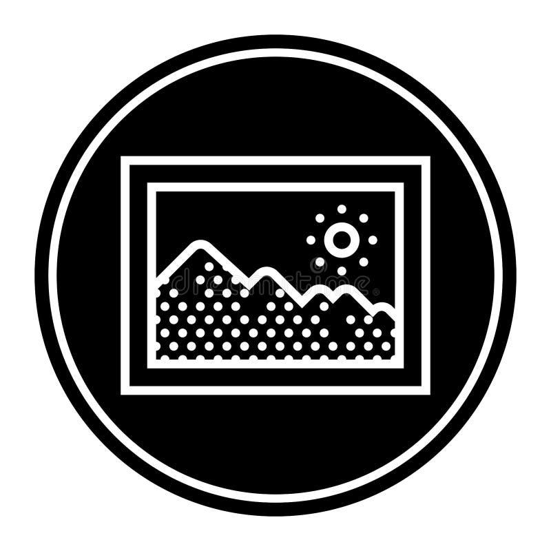 Круговой, плоский, черно-белый значок картинной рамки иллюстрация вектора