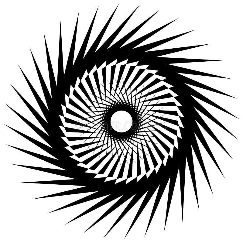 Download Круговой радиальный геометрический элемент изолированный на белой предпосылке Иллюстрация вектора - иллюстрации насчитывающей черный, излучать: 81807814