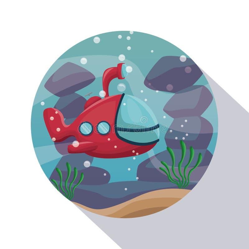 Круговой shading рамки underwater крупного плана плаката scenary с подводной лодкой иллюстрация штока