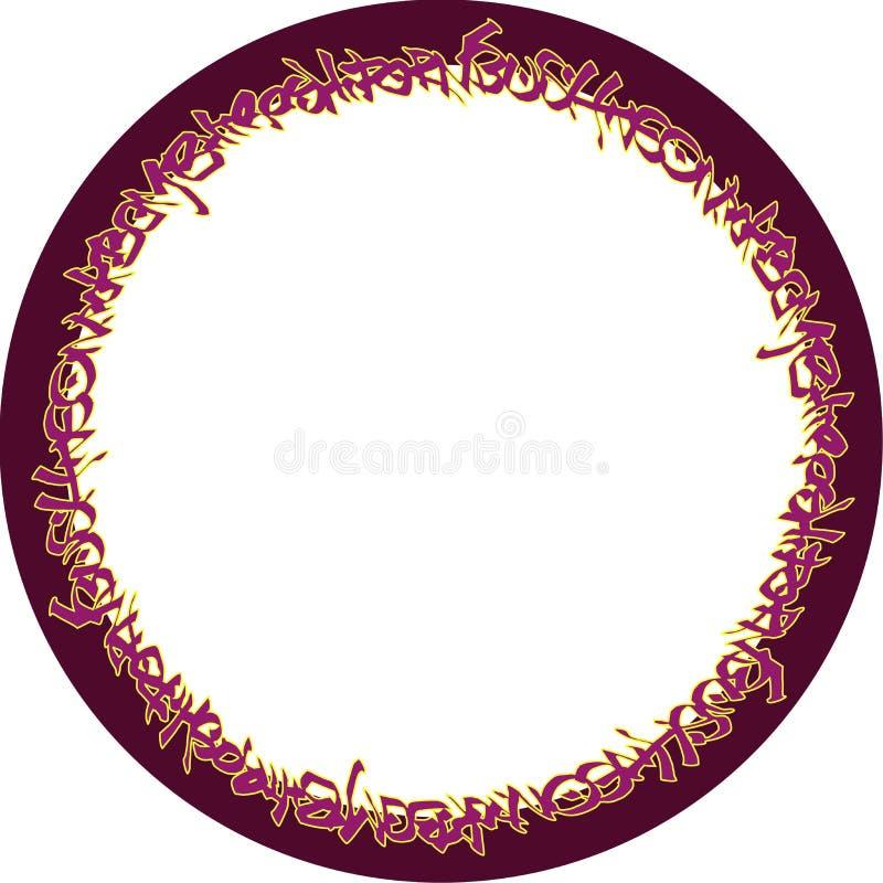 Круговые розовые неоновые бирки граффити на бургундском иллюстрация вектора