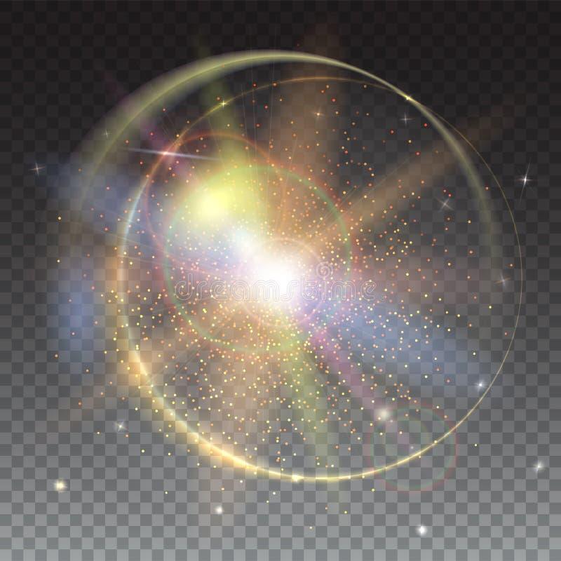 Круговые световые лучи и фон пирофакела объектива Световой эффект зарева и взрыв звезды с sparkles резюмируйте предпосылку яркую иллюстрация вектора