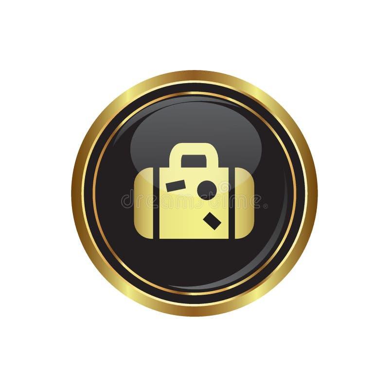 Круглая золотая кнопка с значком чемодана бесплатная иллюстрация