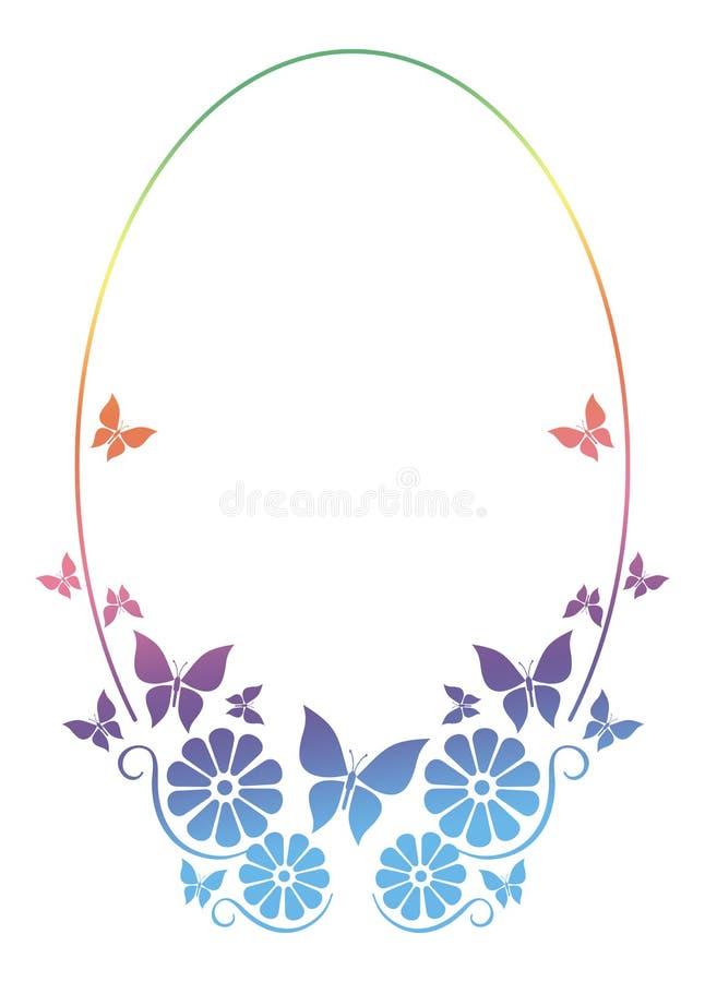 Круглая орнаментальная рамка с бабочкой иллюстрация штока