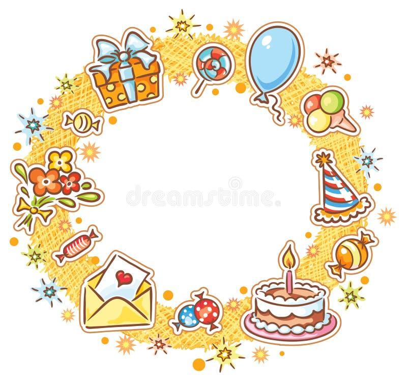 Круглая рамка дня рождения иллюстрация штока