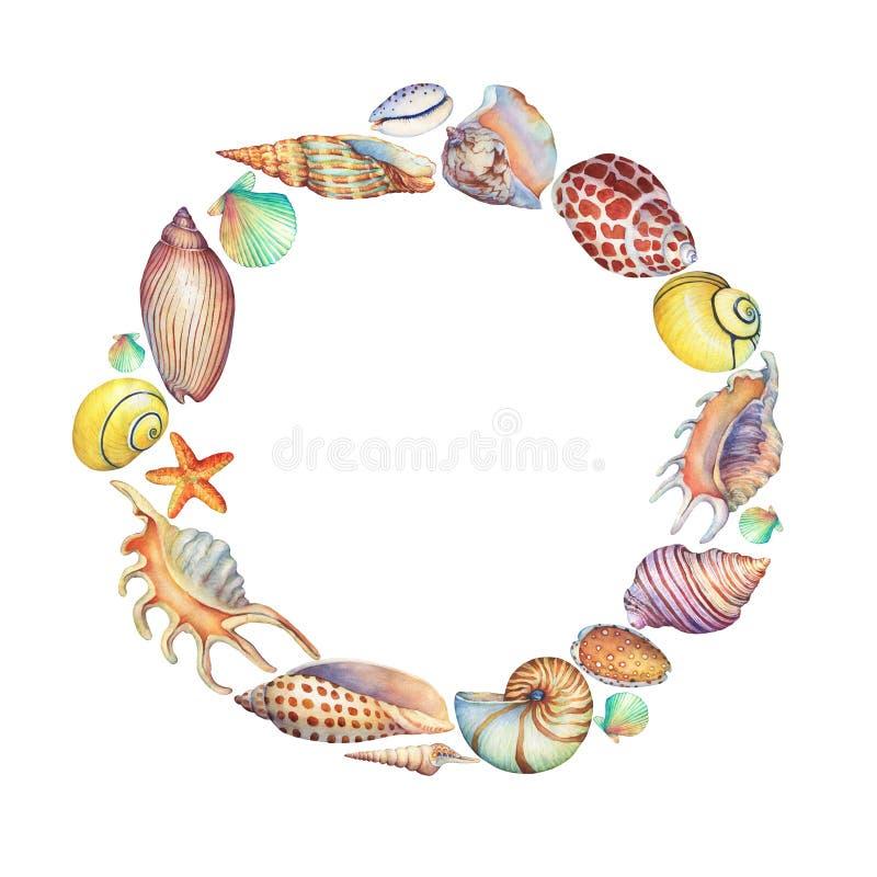 Круглая рамка раковин моря иллюстрация вектора