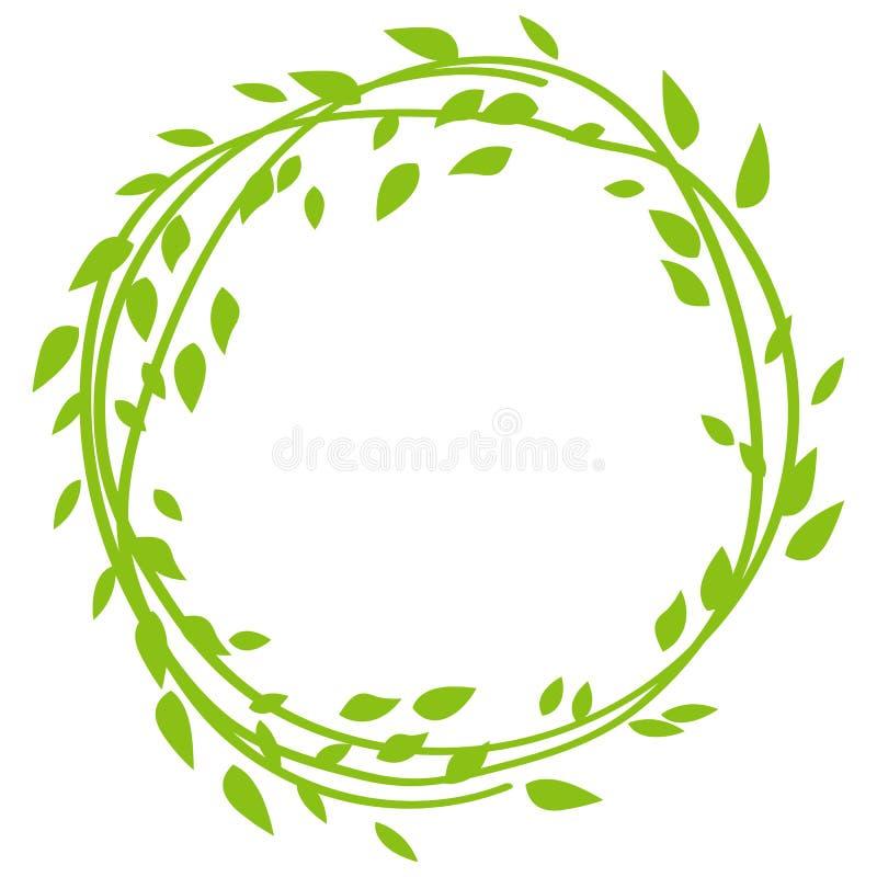 Круглая рамка сделанная от листьев флористическая рамка обрамляет серию также вектор иллюстрации притяжки corel иллюстрация вектора