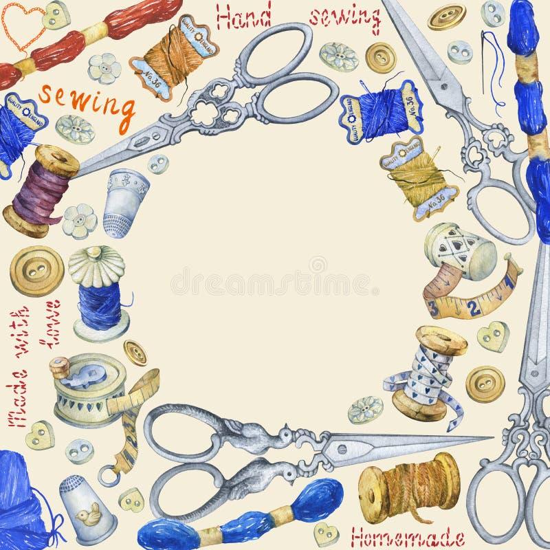 Круглая рамка с различными винтажными объектами для шить, ремесленничества и handmade иллюстрация вектора