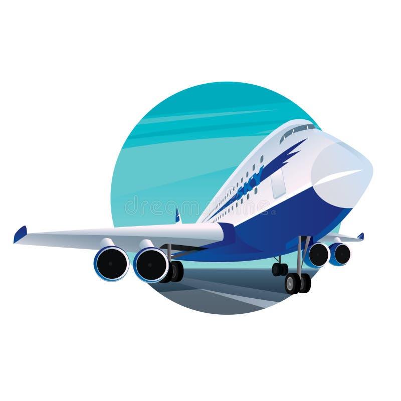 Круглая эмблема с современным пассажирским самолетом бесплатная иллюстрация