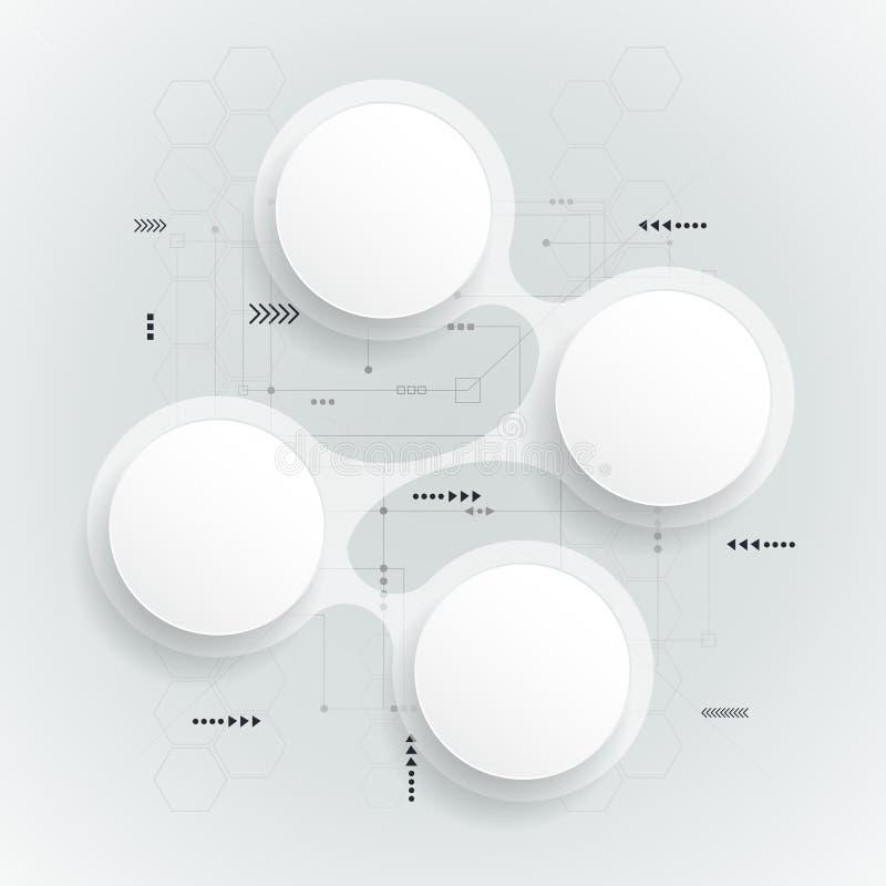 Круг белой бумаги конспекта 3 d на монтажной плате бесплатная иллюстрация