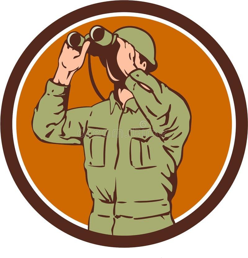 Круг биноклей американского солдата Вторая мировой войны ретро бесплатная иллюстрация