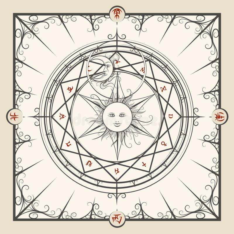 Круг волшебства алхимии иллюстрация штока