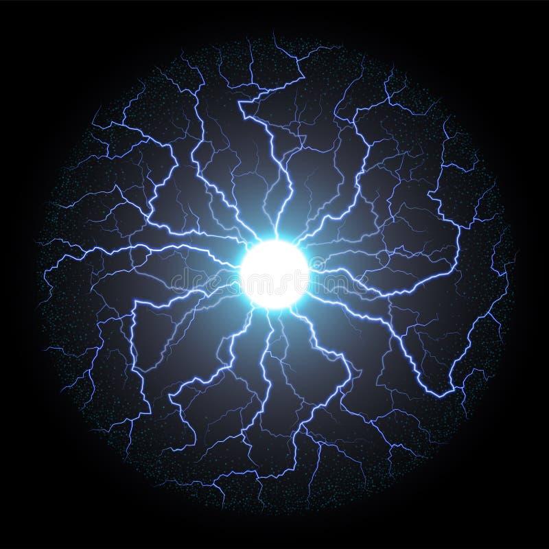 Круг вспышки электрического света или молнии вектора иллюстрация штока