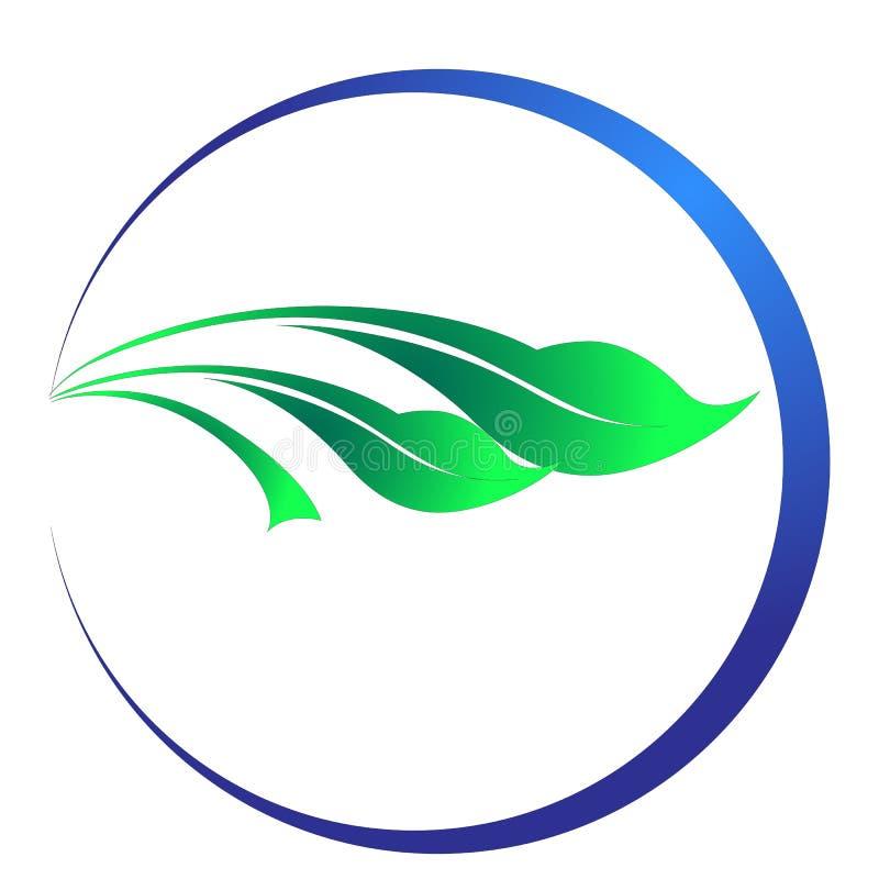 Круг выходит логотип экологичности, сфера воды завода установил круглого дизайна вектора символа значка иллюстрация вектора