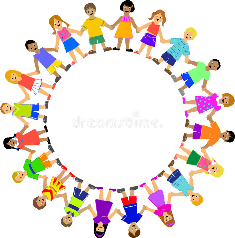 круг детей вручает удерживание бесплатная иллюстрация