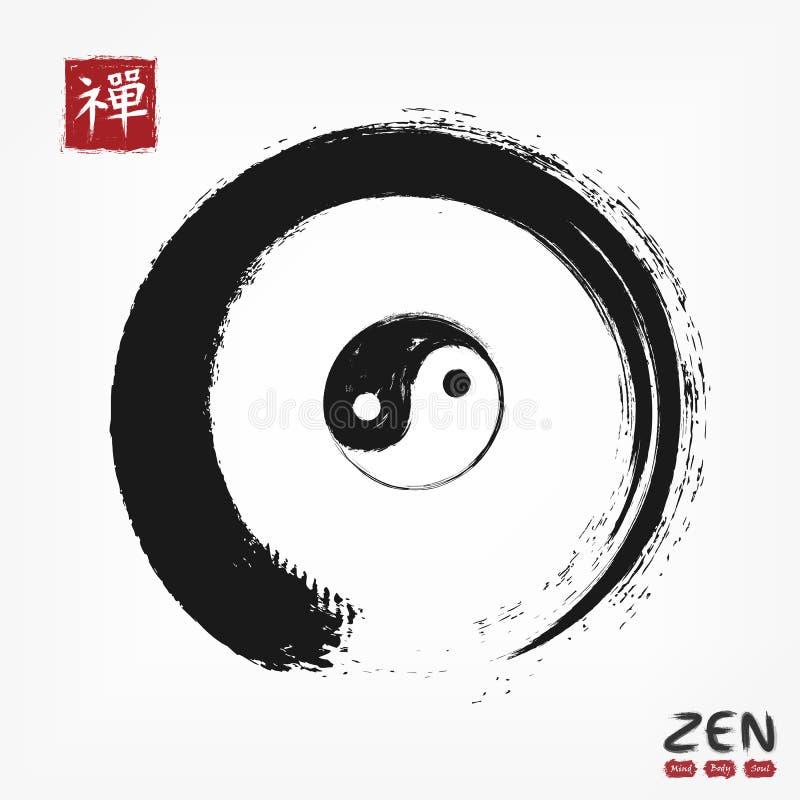 Круг Дзэн Enso с китайцем yin и символа и Кандзи yang каллиграфическим Японское Дзэн смысла перевода алфавита Watercol иллюстрация штока