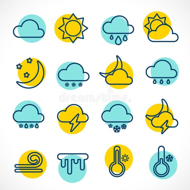 Круг значков погоды плана установленный иллюстрация вектора