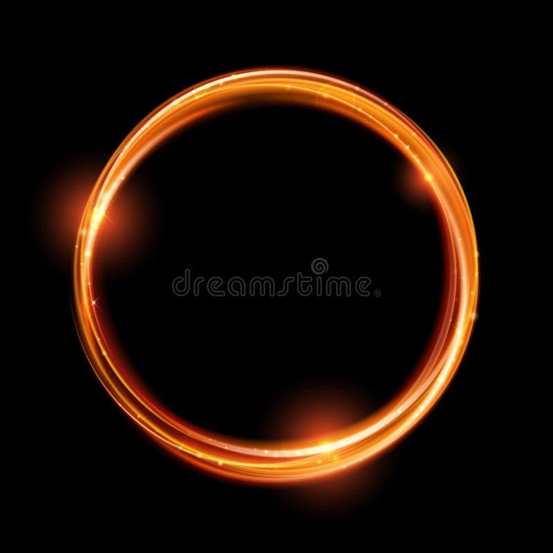Круг золота вектора волшебный Накаляя кольцо огня Свирль искры яркого блеска иллюстрация вектора
