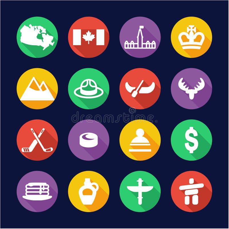 Круг дизайна значков Канады плоский иллюстрация вектора
