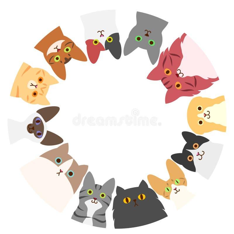 Круг котов иллюстрация штока