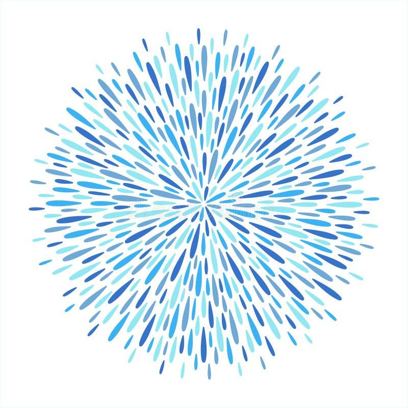 Круг, круглая форма фейерверка сделанная искр, лучей, падений иллюстрация штока