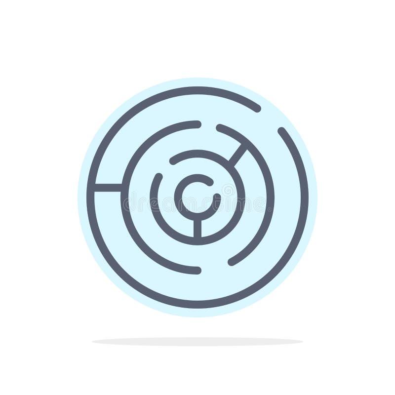 Круг, лабиринт круга, лабиринт, предпосылки круга лабиринта значок цвета абстрактной плоский иллюстрация штока