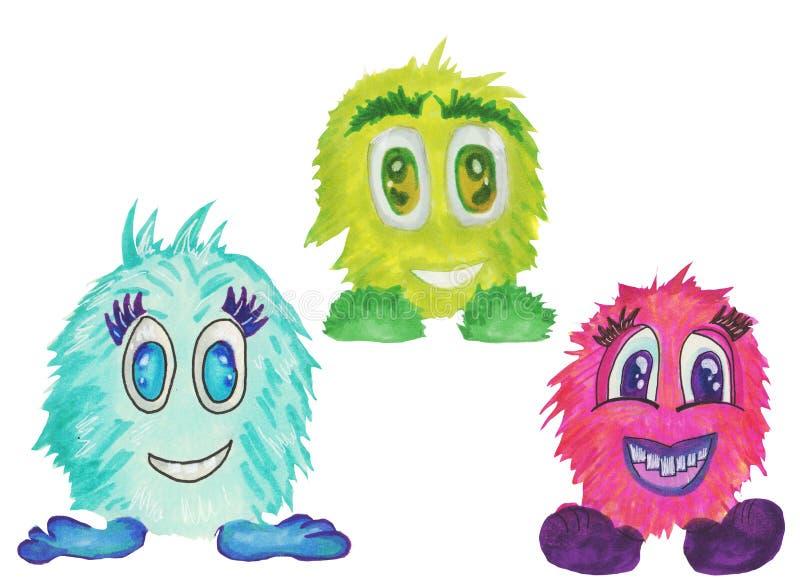 Круг мультфильма шуточный смотрит на установленные, красочные характеры пузыря бесплатная иллюстрация