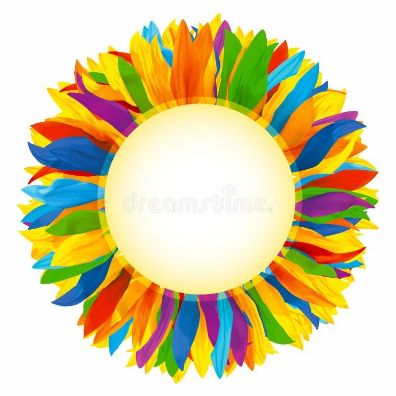 Круг обрамленный с красочными лепестками цветка стоковые фото