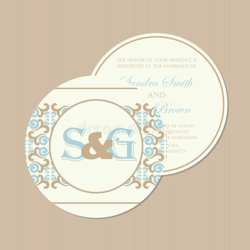 Круглое, двухстороннее винтажное приглашение свадьбы иллюстрация штока