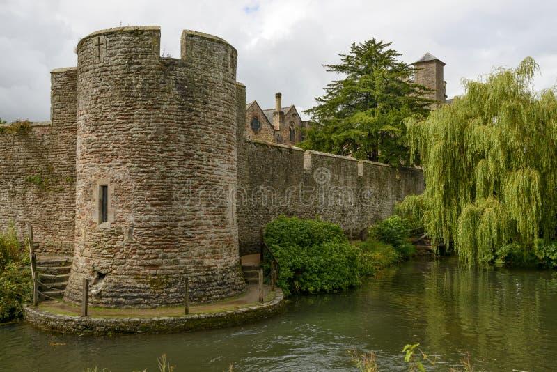 Круглое дерево башни и вербы на рове на дворце епископа, Wells стоковая фотография rf