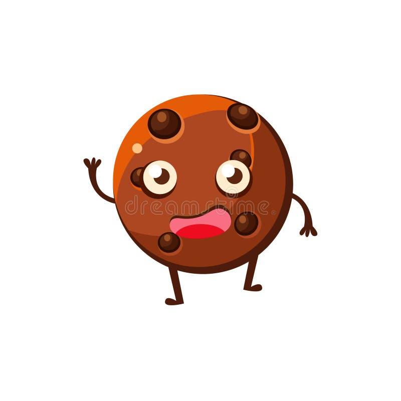 Круглое печенье с печенья десерта обломоков шоколада персонажем из мультфильма сладостного ребяческим бесплатная иллюстрация
