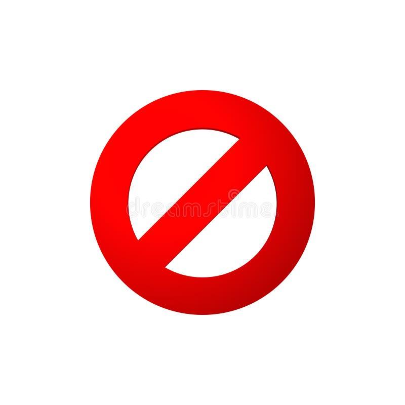 Круг опасности пересеченный красным цветом иллюстрация штока
