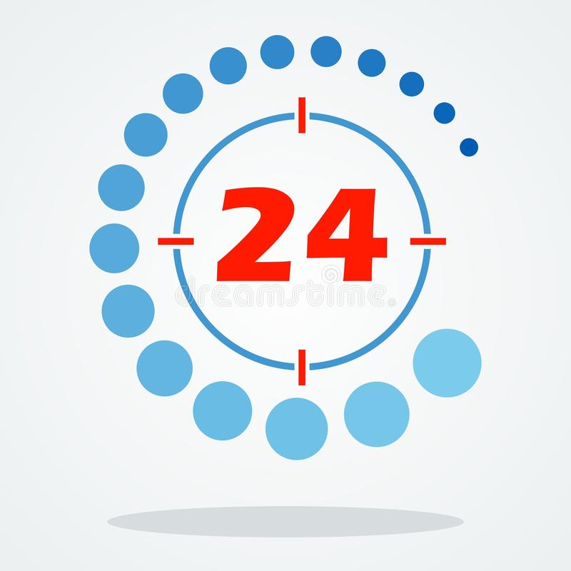 Круглосуточно 24 иллюстрация вектора