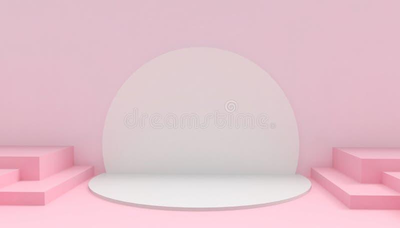 Круг подиума и прямоугольное современное в искусстве и концепции абстрактного состава пинка минимальном на розовой предпосылке иллюстрация штока