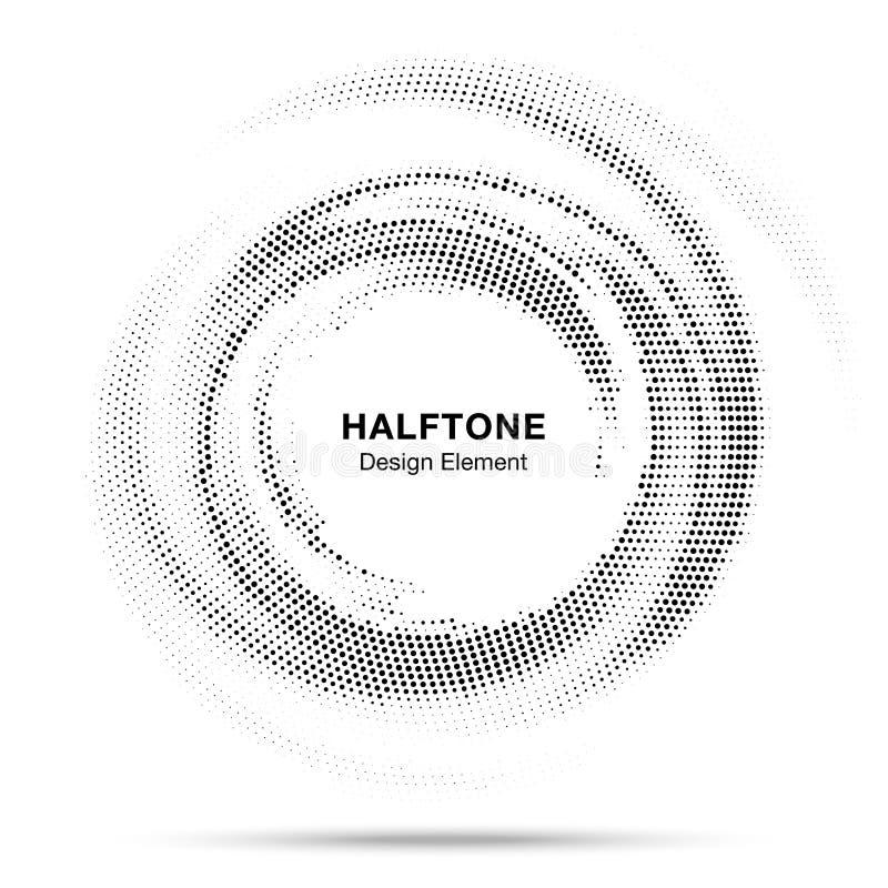Круг полутонового изображения поставил точки по кругу распределенная рамка Абстрактный элемент дизайна эмблемы логотипа точек Век иллюстрация штока