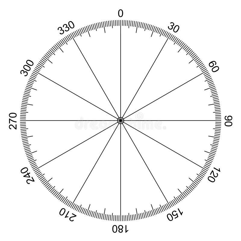 Круг при отмеченные градусы иллюстрация штока
