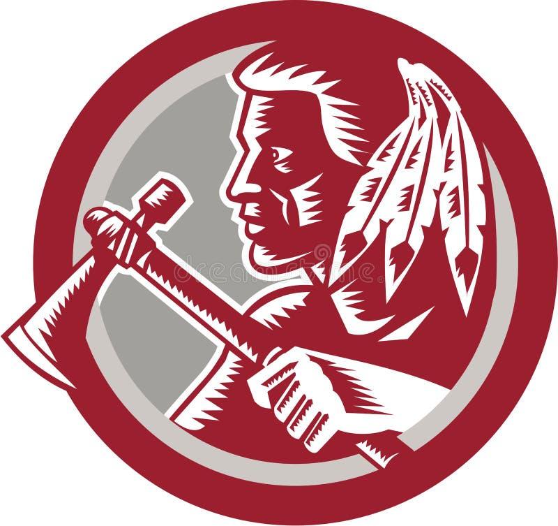 Круг ратника томагавка коренного американца бесплатная иллюстрация