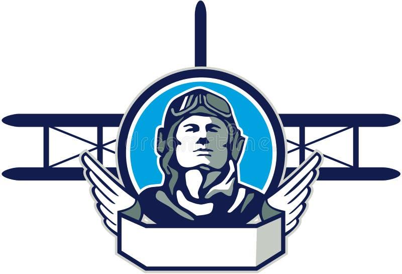 Круг самолет-биплана пилота авиатора Первая мировой войны ретро иллюстрация штока