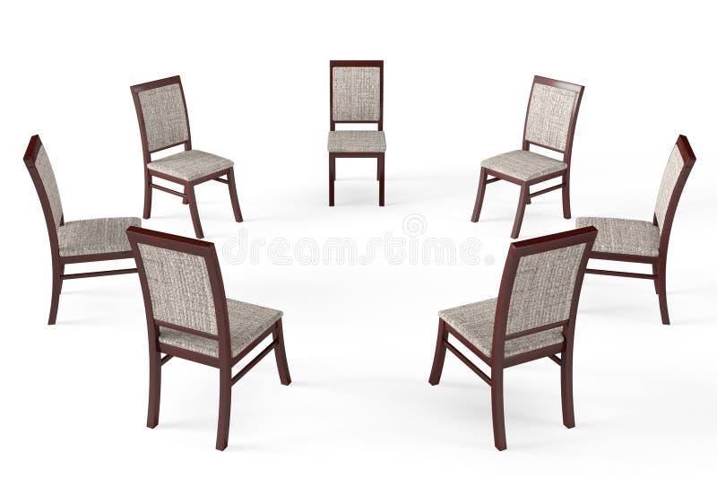 Круг современных деревянных стульев бесплатная иллюстрация