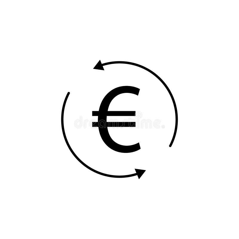 Круг, стрелка, значок евро Элемент иллюстрации финансов Знаки и значок символов можно использовать для сети, логотипа, мобильного иллюстрация штока
