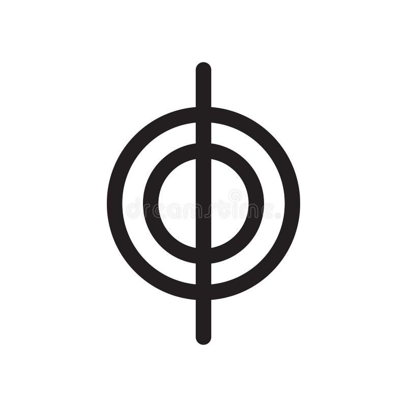 Круг с вертикальной линией знаком и символом вектора значка знака изолированный на белой предпосылке, круге с вертикальной линией иллюстрация штока