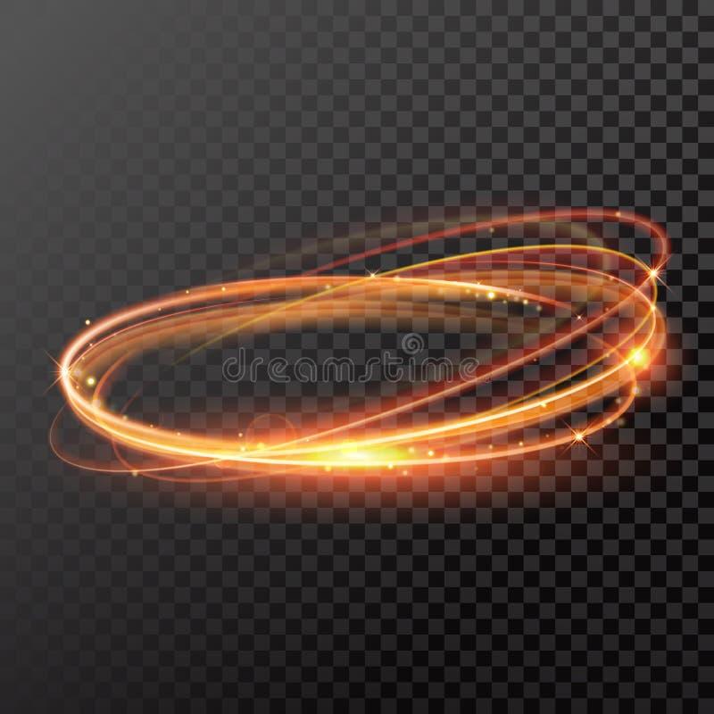 Круг следа света золота вектора волшебный Свирль искры яркого блеска иллюстрация вектора