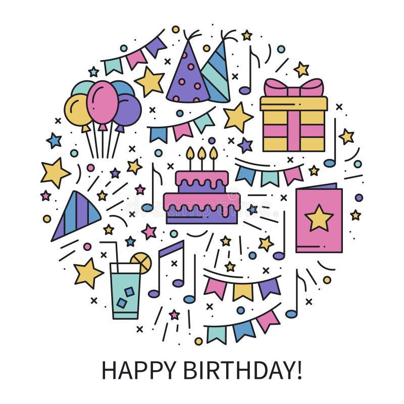 Круг с символами дня рождения в линии стиле Основная тема концепции элементов партии Печать уникально дня рождения круглая иконы иллюстрация штока