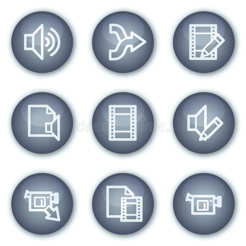 круг тональнозвуковых кнопок редактирует сеть икон минеральную видео- иллюстрация вектора