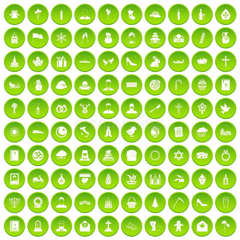 100 круг церков установленный значками зеленый иллюстрация вектора