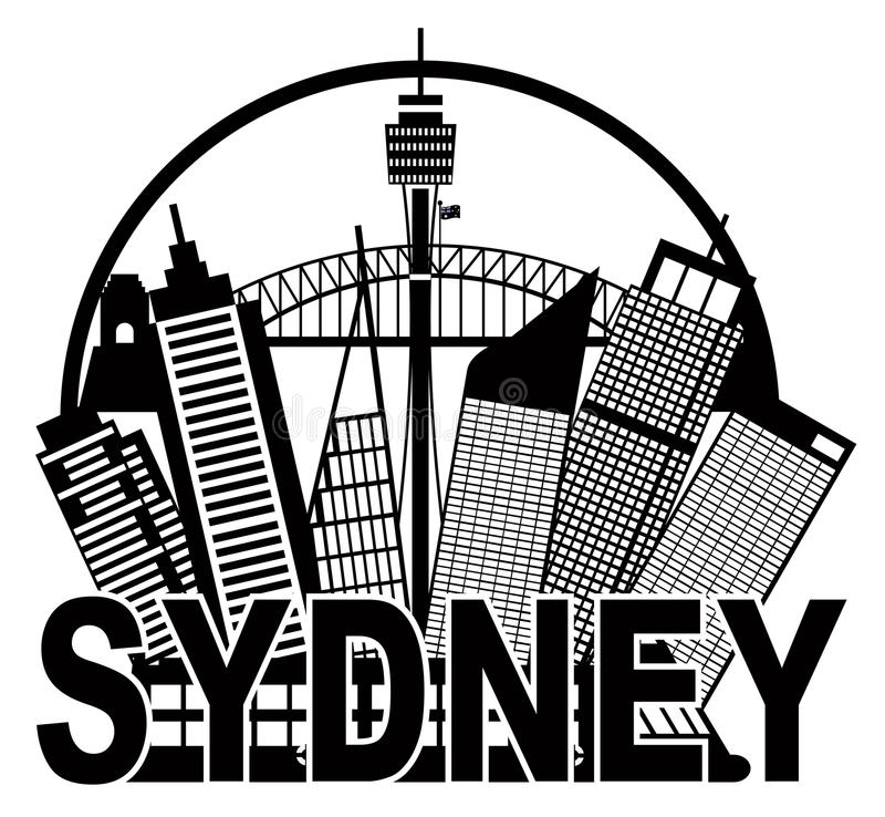 Круг черно-белый Il горизонта Сиднея Австралии бесплатная иллюстрация