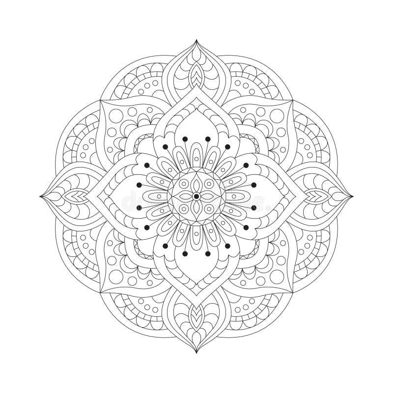 Круглые мандалы в векторе Графический шаблон для вашего дизайна Декоративный ретро орнамент Предпосылка нарисованная рукой с цвет иллюстрация вектора