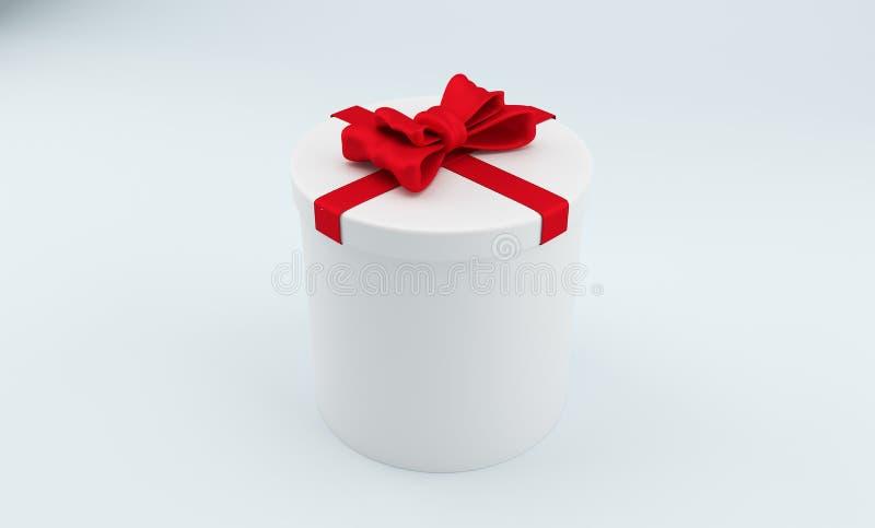 круглые подарочные коробки 3D с красным смычком перевод 3d бесплатная иллюстрация
